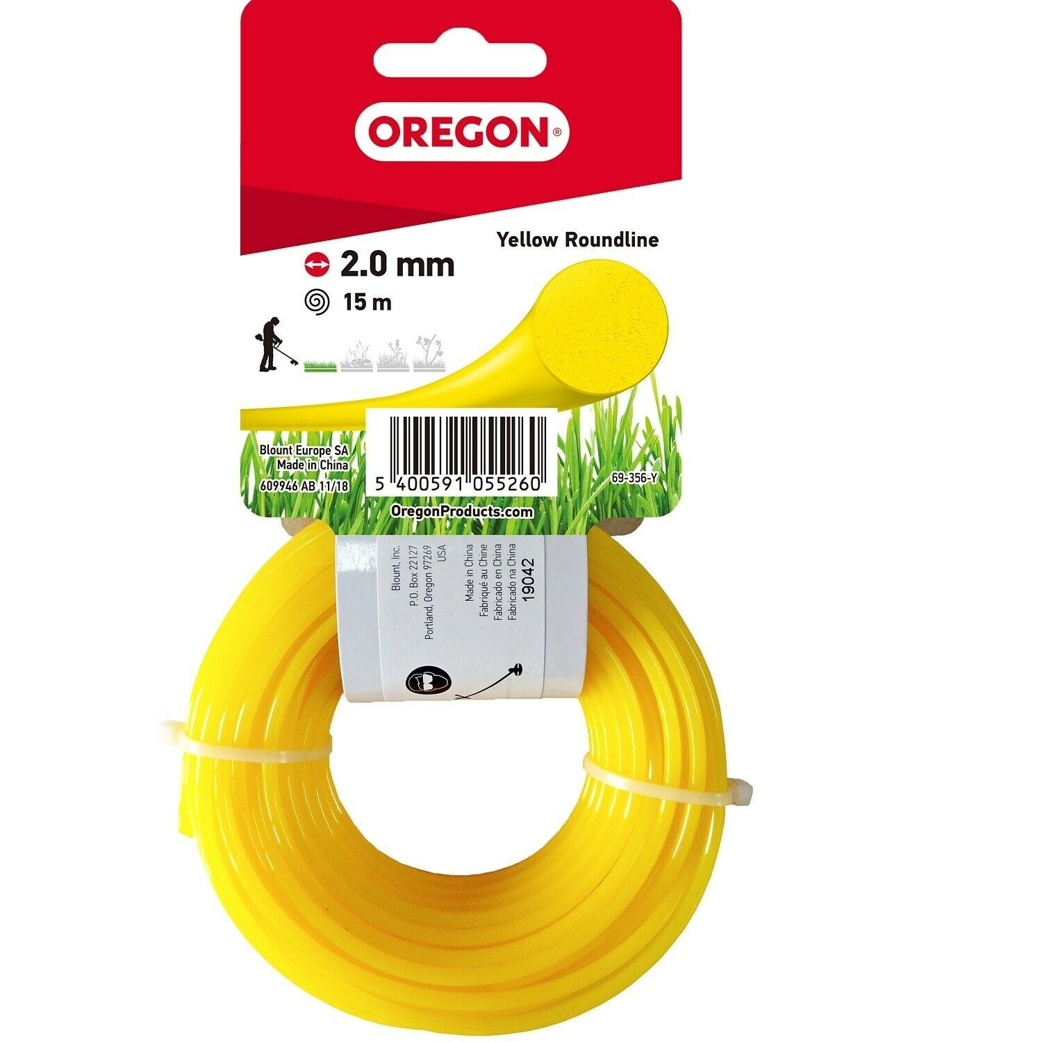 Oregon 2.0mm x 15m Yellow Roundline