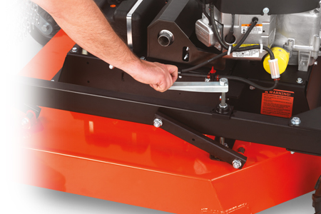 Tow behind field and brush mower height adjustment